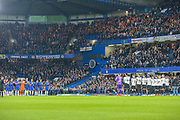 Chelsea and Derby County observe a minute's applause for the Leicester City helicopter tragedy during the EFL Cup 4th round match between Chelsea and Derby County at Stamford Bridge, London, England on 31 October 2018.