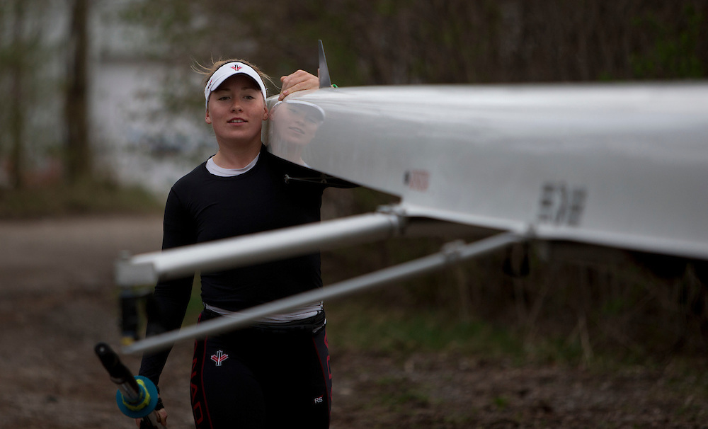 Caileigh Filmer (stroke) spare for the 2016 Canadian Olympic Rowing Team in the women's eight trains at Lake Fanshawe in London, Ontario Canada on April 25th, 2016