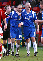 Photo: Dave Linney.<br />Walsall v Oldham Athletic. Coca Cola League 1. 18/02/2006Oldhams .Paul Ware( L) celebrates his goal with  Will Haining to make it 2-0
