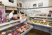 Inside traditional butcher's shop, Toby Haynes Family Butcher, Corsham, Wiltshire, England, UK