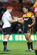 Chiefs' Tana Umaga and Sharks' John Smit greet each other after the game. Super 15 rugby union match, Chiefs v Sharks at Waikato Stadium, Hamilton, New Zealand. Friday 18th March 2011. Photo: Anthony Au-Yeung / photosport.co.nz