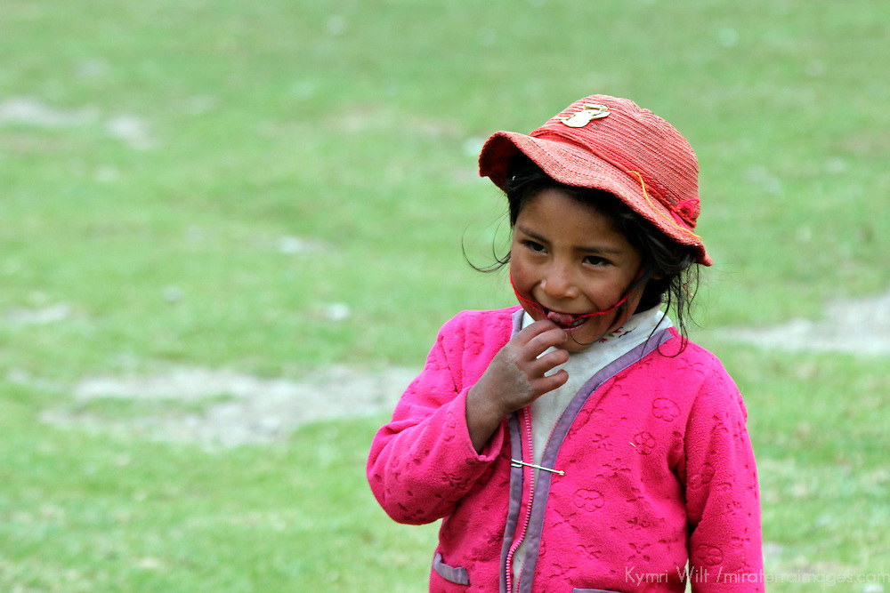 South America, Peru, Willoq. Smiling Willoq Girl in Hat.