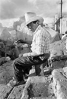 Man on church steps, Chichicastenango, Guatemala
