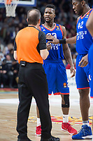 Anadolu Efes Toney Douglas talking with the referee during Turkish Airlines Euroleague match between Real Madrid and Anadolu Efes at Wizink Center in Madrid, Spain. January 25, 2018. (ALTERPHOTOS/Borja B.Hojas)