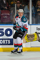 KELOWNA, CANADA - JANUARY 4: Ted Brennan #10 of the Kelowna Rockets skates against the Prince George Cougars on January 4, 2019 at Prospera Place in Kelowna, British Columbia, Canada.  (Photo by Marissa Baecker/Shoot the Breeze)