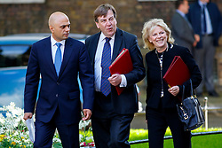 © Licensed to London News Pictures. 12/05/2015. LONDON, UK. Business Secretary Sajid Javid, Culture, Media and Sport Secretary, John Whittingdale and Minister for Small Business Anna Soubry attending to the first Conservative cabinet meeting after the 2015 general election in Downing Street on Tuesday, 12 May 2015. Photo credit: Tolga Akmen/LNP