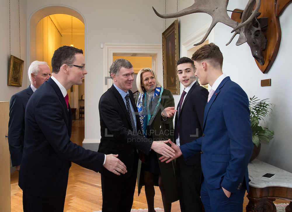 20.11.2016           <br /> Winners of the 2016 All Ireland Scholarships were commended by Rugby Legend, Paul O'Connell at an awards ceremony at the University of Limerick. <br />  Sponsored by JP McManus, the educational scheme is set to provide financial assistance to many high achieving students who completed their Leaving Certificat/A Level examinations in 2016. <br /> <br /> Attending the awards ceremony were, Paul O'Connell with scholarship recipients, Conor Gaffney, Wexford Town and James McDonnell, Middleton Co. Cork. Picture: Alan Place