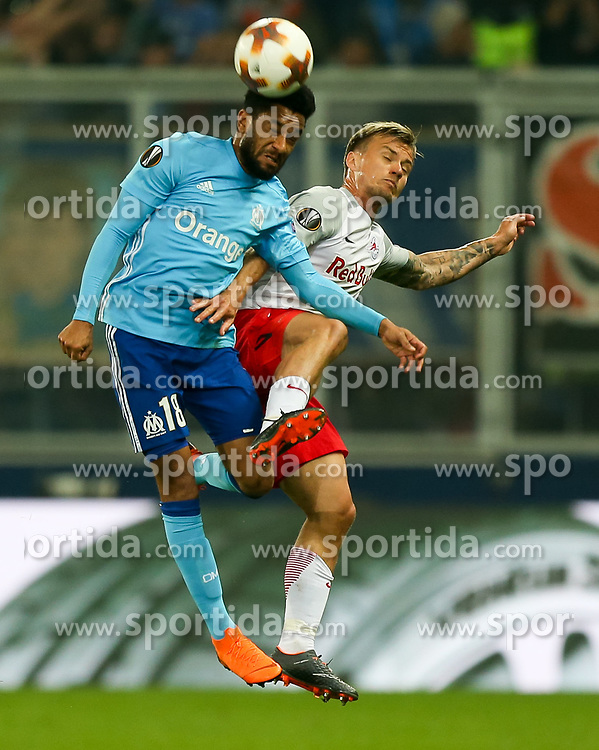 03.05.2018, Red Bull Arena, Salzburg, AUT, UEFA EL, FC Salzburg vs Olympique Marseille, Halbfinale, Rueckspiel, im Bild Jordan Amavi (Olympique Marseille) und Fredrik Gulbrandsen (FC Salzburg) // during the UEFA Europa League Semifinal, 2nd Leg Match between FC Salzburg and Olympique Marseille at the Red Bull Arena in Salzburg, Austria on 2018/05/03. EXPA Pictures © 2018, PhotoCredit: EXPA/ Roland Hackl