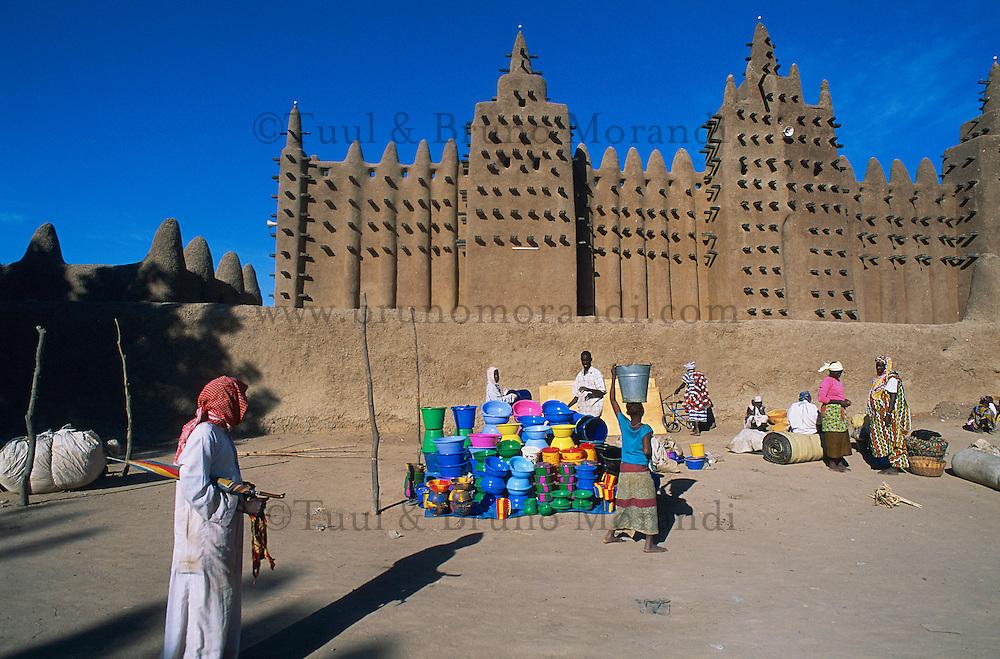 Mali, Djenné, Patrimoine mondial de l'UNESCO, Grande mosquée, plus grande mosquée en terre du monde, Marché du lundi // Mali, Djenne, Unesco World Heritage, the biggest mud mosque of the world, Monday market
