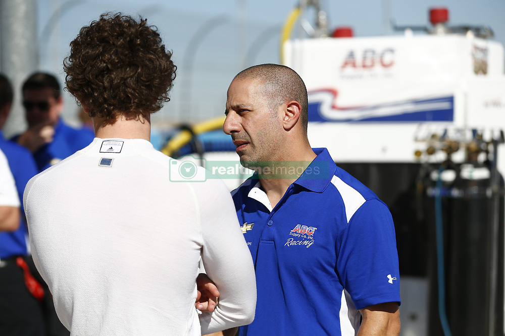 February 8, 2018 - Avondale, Arizona, United States of America - February 08, 2018 - Avondale, Arizona, USA: Matheus Leist (4) and Tony Kanaan (14) talk on pit road during the Prix View at ISM Raceway in Avondale, Arizona. (Credit Image: © Justin R. Noe Asp Inc/ASP via ZUMA Wire)