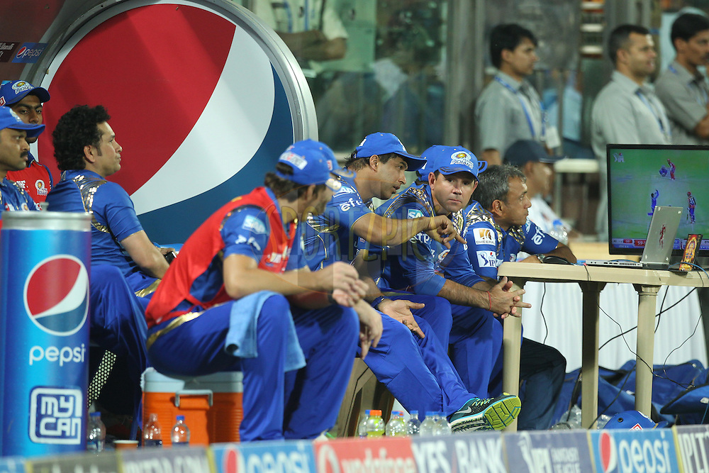 Mumbai Indians Head Coach Ricky Ponting in dugout during match 21 of the Pepsi IPL 2015 (Indian Premier League) between The Delhi Daredevils and The Mumbai Indians held at the Ferozeshah Kotla stadium in Delhi, India on the 23rd April 2015.<br /> <br /> Photo by:  Deepak Malik / SPORTZPICS / IPL