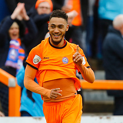 Braintrees Reece Grant celebrates scoring the first of his 2 goals during the Vanorama National League South match between Braintree Town FC and Gloucester City FC at the IronmongeryDirect Stadium, Essex on 28 April 2018. Photo by Matt Bristow.