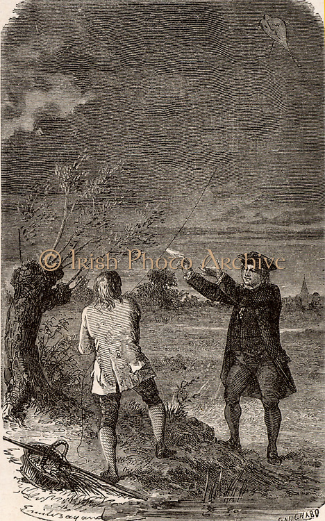 Artist's impression of the Benjamin Franklin's (1706-1790) investigation of the electrical nature of lightning, made at Philadelphia, USA, in September 1752.  Franklin and his assistant are flying a kite in a thunderstorm and  Franklin is drawing a spark off the kite string.  Engraving from 'Le Journal de la Jeunesse' (Paris, 1881).