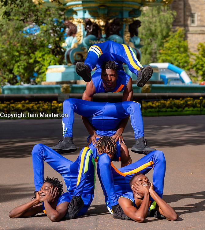 Edinburgh, Scotland, UK; 1 August, 2018. Bone Breakers,   artists Soulemane Soumah, Norbert Tonguino, Alhassane Keita, Mohamed Bangoura from West Africa, perform at photocall as part of Edinburgh Fringe Festival in Princes Street Gardens.