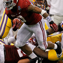 Jan 9, 2012; New Orleans, LA, USA; Alabama Crimson Tide running back Trent Richardson (3) against the LSU Tigers during the first half of the 2012 BCS National Championship game at the Mercedes-Benz Superdome.  Mandatory Credit: Derick E. Hingle-US PRESSWIRE