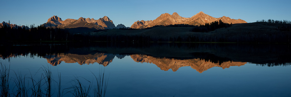Sawtooth Mountain Range reflected in Little Redfish Lake in the Stanley Basin, Idaho