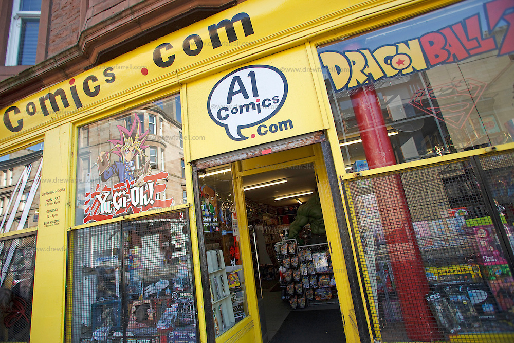 Picture shows : A1 Comics  - Parnie Street. Merchant City Area, Glasgow. Travel guide feature..Picture Drew Farrell. tel : 07721-735041......