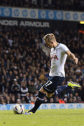Tottenham's Harry Kane scores a goal from a penalty - Photo mandatory by-line: Mitchell Gunn/JMP - Tel: Mobile: 07966 386802 30/10/2013 - SPORT - FOOTBALL - White Hart Lane - London - Tottenham Hotspur v Hull City - Capital One Cup - Forth Round