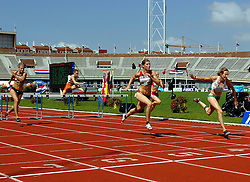 01-07-2007 ATLETIEK: NK OUTDOOR: AMSTERDAM<br /> Finish 100 meter horden Femke van der Meij wint voor Karin Ruckstuhl, Laura Molenaar en Jolanda Keizer<br /> ©2007-WWW.FOTOHOOGENDOORN.NL