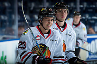 KELOWNA, BC - OCTOBER 20: Ilijah Colina #23 of the Portland Winterhawks warms up against the Kelowna Rockets at Prospera Place on October 20, 2017 in Kelowna, Canada. (Photo by Marissa Baecker/Getty Images)