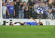 A dejected Didier Drogba lies on the ground after another penalty decision is turned down in the second half of the UEFA Champions League Semi Final Second Leg match between Chelsea and Barcelona at Stamford Bridge on May 6, 2009 in London, England.