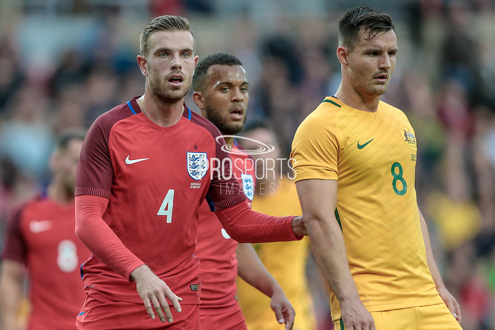Jordan Henderson (England) and Bailey Wright (Australia) during the Friendly International match match between England and Australia at the Stadium Of Light, Sunderland, England on 27 May 2016. Photo by Mark P Doherty.