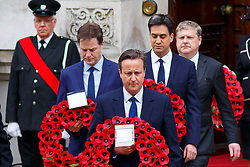 © Licensed to London News Pictures. 08/05/2015. LONDON, UK. Prime Minister David Cameron, Nick Clegg and Ed Miliband attending a service of remembrance at the Cenotaph in London marking the 70th anniversary of VE Day on Friday, 8 May 2015. Photo credit : Tolga Akmen/LNP