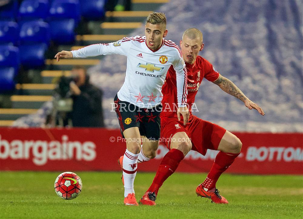 BIRKENHEAD, ENGLAND - Friday, March 11, 2016: Manchester United's Andreas Pereira in action against Liverpool's Martin Skrtel during the Under-21 FA Premier League match at Prenton Park. (Pic by David Rawcliffe/Propaganda)