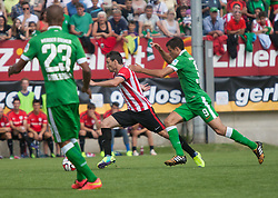 27.07.2014, Sportplatz, Fügen, AUT, FS Vorbereitung, Testspiel, SV Werder Bremen vs Atletico Bilbao, im Bild Theodor Gebre Selassie (Werder Bremen), Kike Sola (Atletico Bilbao) und Franco Di Santo (Werder Bremen) // during a friendly Match between SV Werder Bremen and Atletico Bilbao at the football stadium in Fügen, Austria on 2014/07/27. EXPA Pictures © 2014, PhotoCredit: EXPA/ Jakob Gruber