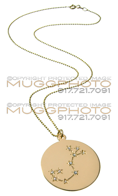 scorpio constellation in rhinestones on a gold charm necklace