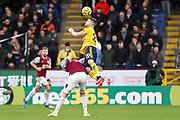 Arsenal defender Shkodran Mustafi heads the ball during the Premier League match between Burnley and Arsenal at Turf Moor, Burnley, England on 2 February 2020.