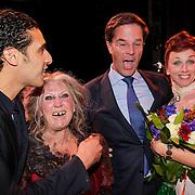 NLD/Amsterdam/20120923- Premiere musical De Jantjes, Ali Boauli, Ali B., Willeke Alberti, Mark Rutte en Ellen Evers