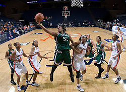 Charlotte 49ers foward Danielle Burgin (55) grabs a rebound against Virginia.  The Virginia Cavaliers women's basketball team defeated The University of North Carolina - Charlotte 49ers 74-72 in the 2nd round of the Women's NIT at John Paul Jones Arena in Charlottesville, VA on March 19, 2007.