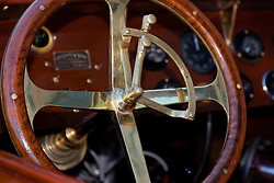 """Boat Steering Wheel 1"" - This classic wooden boat steering wheel was photographed at the 2011 Tahoe Concours d'Elegance."