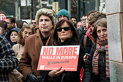 European socialists hold the 'No More Walls in Europe' prostest in Brussels, Belgium on 16.03.2016 Protestors want to show their support for Schengen area before European Summit on migration crisis. EXPA Pictures © 2016, PhotoCredit: EXPA/ Photoshot/ Wiktor Dabkowski<br /> <br /> *****ATTENTION - for AUT, SLO, CRO, SRB, BIH, MAZ, SUI only*****