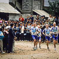 Spectators watch runners, 1999 Mild Seven Outdoor Quest Adventure Race, Lijiang, China
