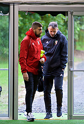 CARDIFF, WALES - Sunday, October 14, 2018: Wales' Kieron Freeman and manager Ryan Giggs during a training session at the Vale Resort ahead of the UEFA Nations League Group Stage League B Group 4 match between Republic of Ireland and Wales. (Pic by David Rawcliffe/Propaganda)