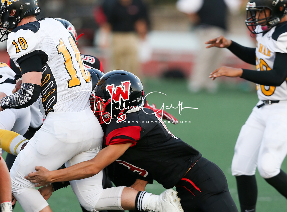 (Photograph by Bill Gerth/for Max Preps) Del Mar vs Westmont in a preseason football game at Westmont High School, Campbell CA on 9/9/16.  (Westmont 28 Del Mar 6)