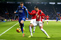 Jamie Vardy of Leicester City is put under pressure from Chris Smalling of Manchester United - Mandatory by-line: Robbie Stephenson/JMP - 05/02/2017 - FOOTBALL - King Power Stadium - Leicester, England - Leicester City v Manchester United - Premier League