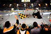 HOUGHTON, MI -DEC. 12, 2014: Michigan Tech fans cheer on their team during warm-ups before they play Minnesota Duluth Friday, Dec. 12, 2014 at MacInnes Student Ice Arena in Houghton, MI. Lauren Justice for The New York Times