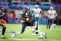 New England Patriots wide receiver Brandin Cooks (14) collides with Philadelphia Eagles strong safety Malcolm Jenkins (27), during the first half of the NFL Super Bowl 52 football game, Sunday, Feb. 4, 2018, in Minneapolis<br /> <br />  (Tom DiPace via AP )