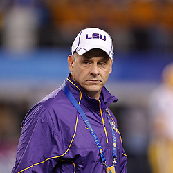 Jan 7, 2011; Arlington, TX, USA; LSU Tigers offensive coordinator Gary Crowton during warm ups prior to kickoff of the 2011 Cotton Bowl against the Texas A&M Aggies at Cowboys Stadium. LSU defeated Texas A&M 41-24.  Mandatory Credit: Derick E. Hingle