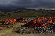 Nov. 22, 2015 - Lesbos, Greece - <br /> <br /> Mountains of life jackets at the Greek island of Lesbos.<br /> <br /> Mountains of life jackets at island of Lesbos are gathered in a place near the Molivos village on 22 November 2015. <br /> ©Exclusivepix Media
