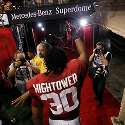 Jan 9, 2012; New Orleans, LA, USA;Alabama Crimson Tide linebacker Dont'a Hightower (30) walks off the field after defeating the LSU Tigers 21-0 in the 2012 BCS National Championship game at the Mercedes-Benz Superdome.  Mandatory Credit: Derick E. Hingle-US PRESSWIRE