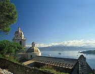 Church of San Lorenzo on a hilltop overlooking<br /> Portovenere, Liguria, Italy