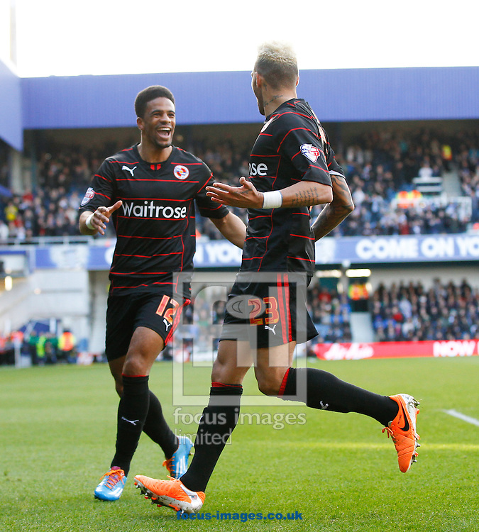 Daniel Williams of Reading celebrates after scoring their first goal with Garath McCleary of Reading (L) during the Sky Bet Championship match at the Loftus Road Stadium, London<br /> Picture by Andrew Tobin/Focus Images Ltd +44 7710 761829<br /> 16/02/2014