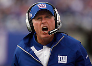 New York Giants Head Coach Tom Coughlin gets his defense pumped up in the fourth quarter.