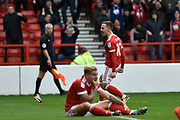 Nottingham Forest midfielder Barrie McKay (10) celebrates scoring a goal, making the score 1-0, during the EFL Sky Bet Championship match between Nottingham Forest and Burton Albion at the City Ground, Nottingham, England on 21 October 2017. Photo by Richard Holmes.