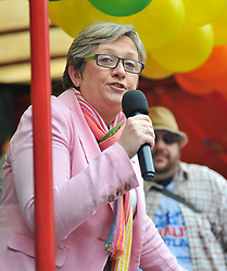 SNP MSP Joanna Cherry speaks to the marchers prior to the annual Scotia Pride march in Edinburgh.<br /> <br /> © Dave Johnston/ EEm