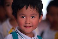 Chinese boy on the playground at Kowloon Park, Hong Kong, China